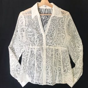 Cache White Burnout Sheer Botton Up Shirt Large